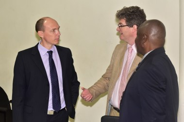 Minister of Citizenship, Mr. Winston Felix in discussion with British High Commissioner to Guyana. Mr. Greg Quinn and Facilitator of the training, Mr. Coran Oakley