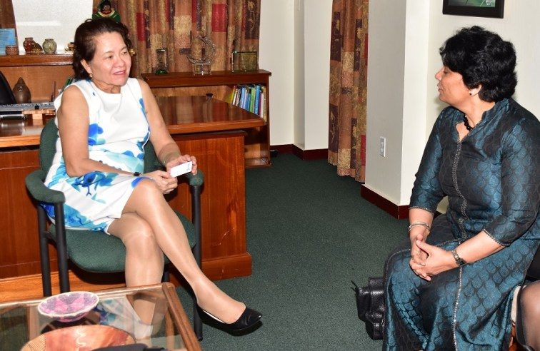 First Lady, Mrs.Sandra Granger in discussion with Dr. AnuradhaGupta, Deputy Chief Executive Officer of the Global Alliance for Vaccines and Immunization (GAVI)