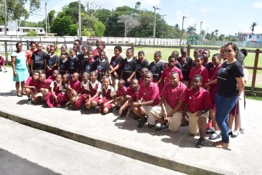 The students of the All Saints Primary with the volunteers of the Caribbean Youth Environment Network (CYEN) and staff of the Office of Climate Change, who facilitated the sessions today