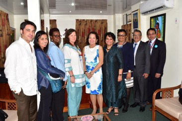 First Lady, Mrs. Sandra Granger and Dr. Anuradha Gupta with representatives from the Ministry of Public Health, Global Alliance for Vaccines and Immunization (GAVI) and the United Nations Children's Fund (UNICEF)