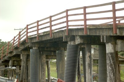 A section of the main bridge of Moruca, Region 1. The bridge was an area of concern raised by residents and regional executives during a recent meeting with Minister of Public Infrastructure, David Patterson, and Minister of Indigenous Peoples' Affairs, Sydney Allicock