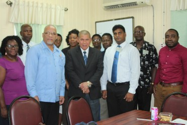 Minister of Social Cohesion, Dr. George Norton poses with Christian leaders