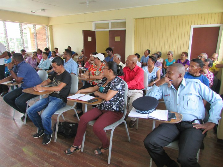 A section of attendees of a recent meeting with Minister of Public Infrastructure, David Patterson, and Minister of Indigenous Peoples' Affairs, Sydney Allicock in Moruca, Region 1