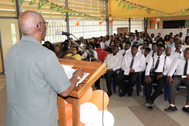 Minister within Social Protection Keith Scott speaking to grandaunts of the Board of Industrial Training (BIT) programme yesterday at the New Amsterdam Technical Institute