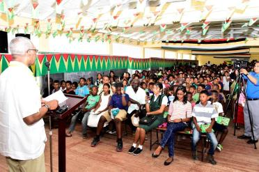 President David Granger addressing the large gathering at the Parika-Salem Secondary School