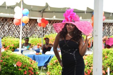 One of the elegant hats displayed by a model at the at the WAD Easter Hat Show and Brunch