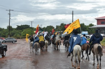 The Vaqueros Procession, which marks the start the Rupununi Ranchers Easter Rodeo, in the town of Lethem