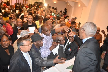 President David Granger interacting with the crowd after the meeting