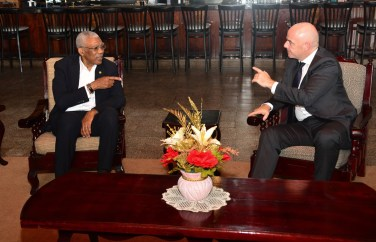 President David Granger and President of the Fédération Internationale de Football Association (FIFA), Mr. Gianni Infantino, during their meeting at Base Camp Ayanganna