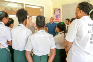 Clohisy interacts with students at the Community's Health Center