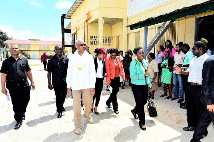 President David Granger and Minister of Education, Ms. Nicolette Henry were warmly received by the students and staff of the NOC