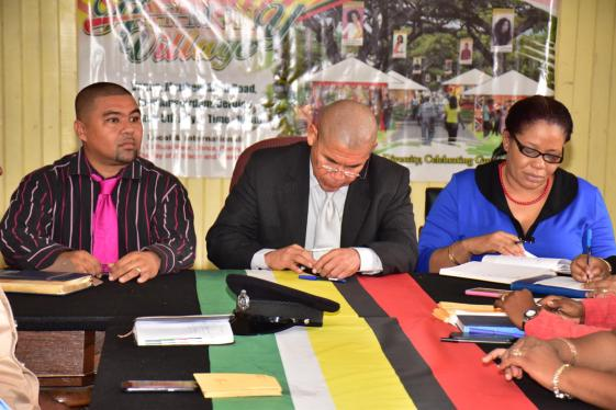 President of the Berbice Chamber of Commerce and Development Association, Mr. Ryan Alexander, Minister of Social Cohesion, Dr. George Norton and Regional Executive Officer, Ms. Kim Stephens during the press briefing for the Harmony Village - New Amsterdam Cultural Festival