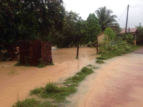 A flooded yard in Mahdia