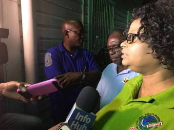 Minister Lawrence briefing media operatives at the GPHC.