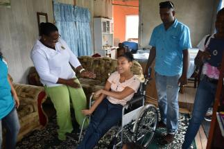 Patrice December trying out her new wheelchair