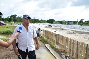 Henry Smith, Mayor of Mabaruma at the construction site of the Green Park