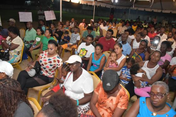 Some of the community members gathered for the meeting at the Mocha Arcadia Primary School