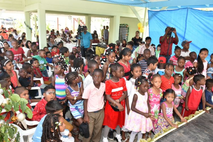 Some of the excited children who attended the annual Christmas party