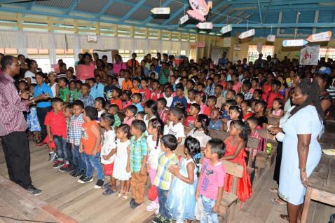 The children of Leguan singing Christmas carols