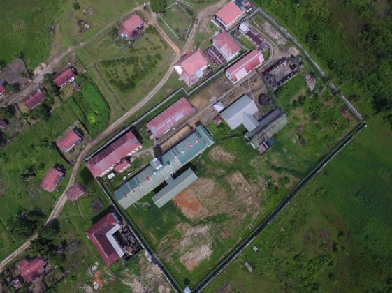 Midair view of the area designated for the prison's construction