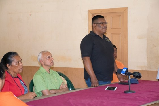 Barima-Waini's Regional Chairman Brentnol Ashley addresses residents of Matthew's Ridge in the presence of Minister of Communities Ronald Bulkan