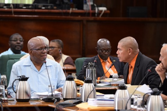 (Right) Minister of Social Cohesion and Chairperson of the Committee of Appointments Dr. George Norton and Minster of Finance Winston Jordan, during the 87th Sitting of the National Assembly.