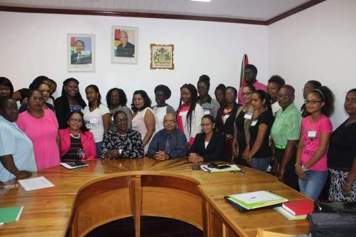 (Front row from left) Regional Executive Officer of Region Six, Kim Williams-Stephen, Minister Nicolette Henry, Deputy Permanent Secretary, Ministry of Social Protection, Mr. Adrian Ramrattan and Chairperson, Guyana Women's Leadership Institute Trisha Watson along with the participants of the workshop