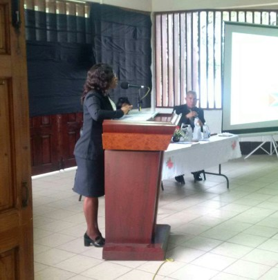 Linden's attorney-at-law Leslyn Charles addressing Linden students on the topic of sexual harassment in sports