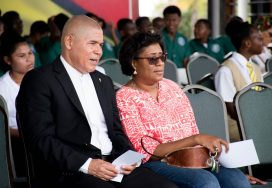 Minister of Social Cohesion with responsibility for Culture, Youth and Sport Dr. George Norton with Minister of Telecommunications Catherine Hughes at the launch of National Youth Week 2018