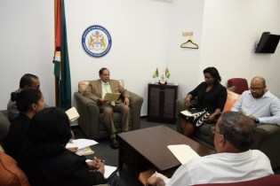 Prime Minister Moses Nagamootoo and staff of Office of the Prime Minister in discussion with Members of the Integrity Commission