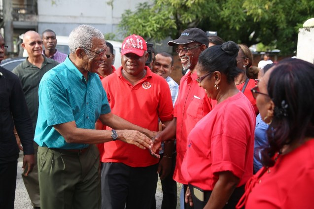 President Granger greeting members of the CCWU