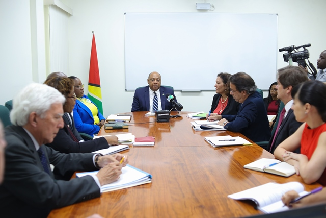 Ministers of Natural Resources Raphael Trotman and Simona Broomes met with technical experts from the World Bank in relation to a US$20M loan to build capacity in the oil and gas industry