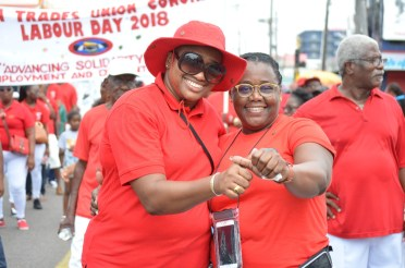 Ministers Annette Ferguson and Simona Broomes during the Labour Day march