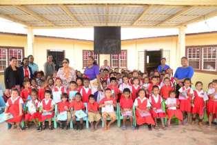 Mrs. Sita Nagamootoo with students and teachers of the Arapaima Nursery School.