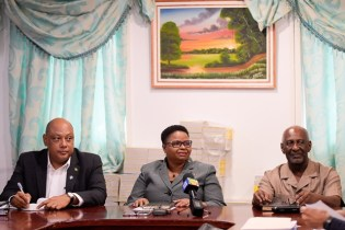 Ministers of Natural Resources, Raphael Trotman and Public Health, Volda Lawrence, and Minister within the Ministry of Social Protection, Keith Scott at the meeting.