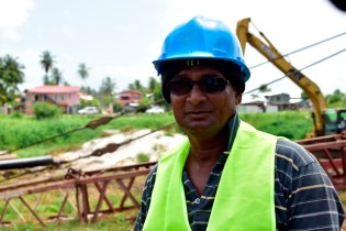 Site Manager of Courtney Benn Contracting Services, Hyderbad Kassim.