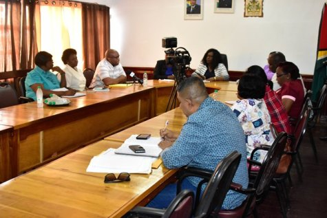 The meeting with Region Six Health Officials held at the Regional Democratic Council Boardroom, New Amsterdam.