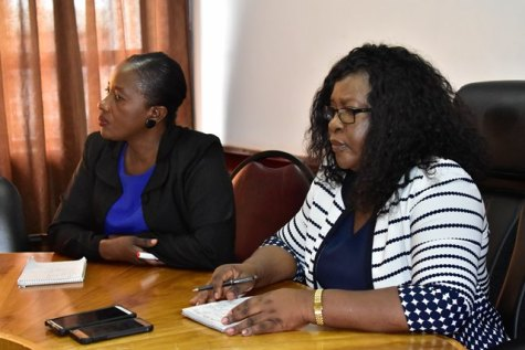 From left, Director of Regional and Clinical Health Services, Dr. Kay Shako and Minister within the Ministry of Public Health, Dr. Karen Cummings during a meeting with health officials, Region Six.