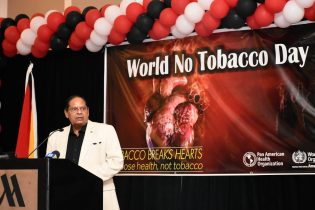 Prime Minister, Hon. Moses Nagamootoo delivering remarks at the World Health Organisation (WHO), World No Tobacco Day Award Presentation Ceremony and Dinner