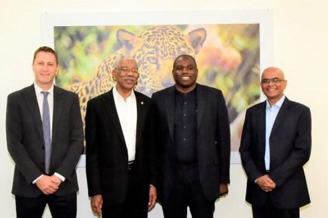 From left: Board member of Conservation International, Mr. Mark Ferguson, President David Granger, Mr. David Lammy and Vice-President of CI-Guyana, Dr. David Singh.
