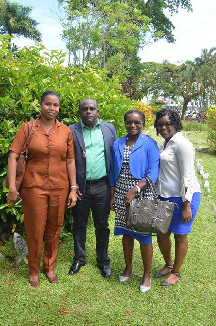 Royston King and teachers in Promenade Garden on World Environment Day 2018.