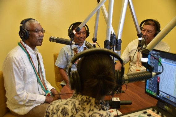 President David Granger, Former Toshao of Aishalton, Douglas Casimero and Minister of Indigenous Peoples' Affairs, Sydney Allicock being interviewed on Radio Aishalton.