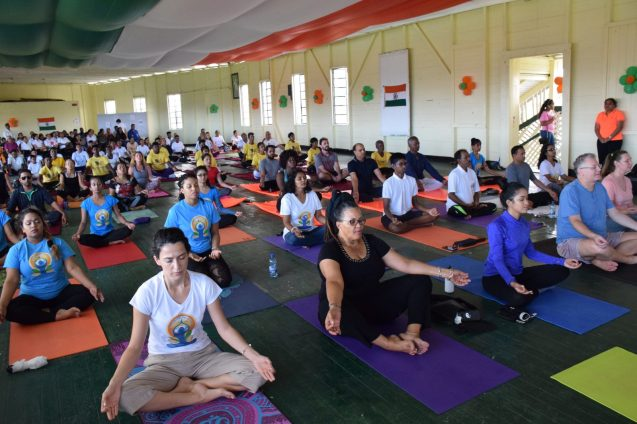 Guyanese and members of the diplomatic corps turned out in their numbers to observe International Yoga Day