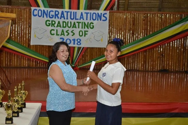 Nellisha Johnson, Orealla, Region Six receiving her certificate from the Minister of Public Affairs, Dawn Hastings Williams.