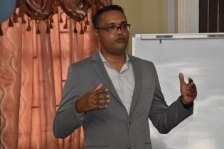 Director at Interweave Solutions (Guyana) Incorporated, Mr. Sanjay Yohann Pooran giving an overview of the workshop.