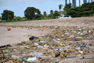 Garbage, mainly single-use plastics dumped aback the Marriott Hotel.