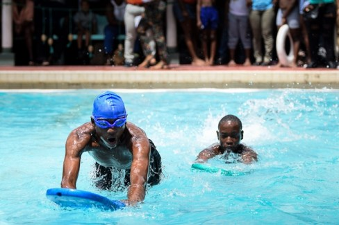 Athletes participating in one of the swim events.