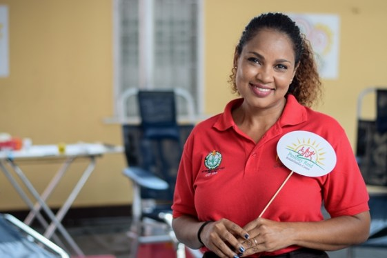 A staff of the Ptolemy Reid Rehabilitation Centre, Sharon Miranjie, who contributed to the blood drive.