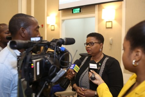 Minister of Public Health, Volda Lawrence responding to media.