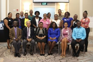 [In the photo, from left to right] PAHO/WHO Representative, Dr. William Adu-Krow, President of the Healthy Caribbean Coalition, Sir Trevor Hassell, Minister of Public Health, Volda Lawrence, Minister within the Ministry of Public Health, Dr. Karen Cummings, Executive Director of Healthy Caribbean Coalition, Maisha Hutton and Chief Medical Officer (CMO), Dr. Shamdeo Persaud along with the Commissioners of the National Presidential Commission for Non-Communicable Diseases.